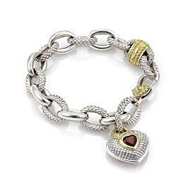 Judith Ripka Sterling Silver and 18K Yellow Gold 0.06ct Diamond & 1.25ct Garnet Heart Charm Bracelet