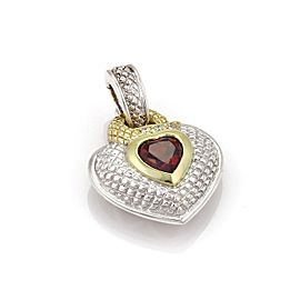 Judith Ripka Sterling Silver and 18K Yellow Gold 1.31ct Diamond & Garnet Heart Pendant