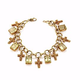 Carla Amorim Sacred 18K Yellow Gold & 18.5ct Lemon Citrine Cross Charms Chain Bracelet