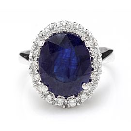 14K White Gold with 7.50ct Blue Sapphire & 0.85ct Diamond Ring Size 7