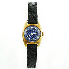 Girard Perregaux Gold Plated & Blue Textured Dial Vintage 19mm Womens Watch