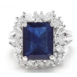 14K White Gold 10.30ct Blue Sapphire & Diamond Ring Size 7