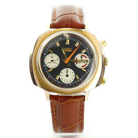 Elgin Reverse Panda 7736 Two Tone Stainless Steel / Leather with Black Dial Manual 41mm Mens Watch