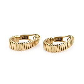 Bulgari Tubogas 18K Yellow Gold Wide Oval Hoop Earrings