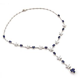 18K White Gold Diamond Oval Cut Sapphire Stars Oval Link Lariat Necklace