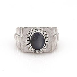 14K White Gold with 4.00ct Star Sapphire & 0.50ct Diamond Rectangular Ring Size 10.5