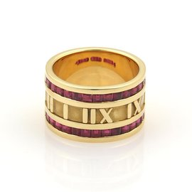 Tiffany & Co. Atlas 18K Yellow Gold with 1.75ct Ruby Wide Band Ring Size 6