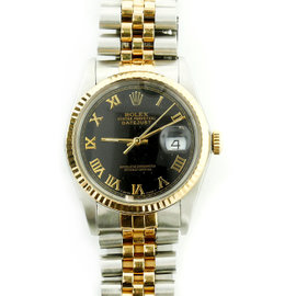 Rolex Datejust 16013 Stainless Steel & Yellow Gold Black Dial 34mm Mens Watch