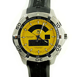 Tag Heuer Aquaracer CAF1011 Stainless Steel Yellow Dial Quartz Digital 43mm Mens Watch