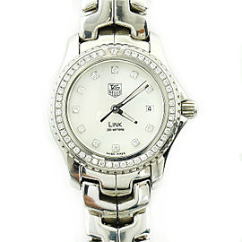 Tag Heuer Link WJ131A Stainless Steel White Mother Of Pearl Diamond Dial Bezel 27mm Womens Watch