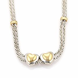 Tiffany & Co. Sterling Silver and 18K Yellow Gold Double Slide Hearts Rope Necklace