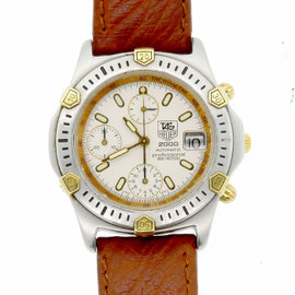 Tag Heuer 165.806 Stainless Steel White Dial Gold Bezel 40mm Mens Watch