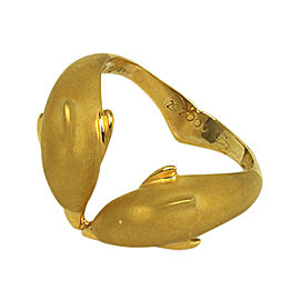 Carrera y Carrera 18K Yellow Gold 3D Double Dolphin Band Ring Size 7.75