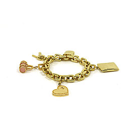 Louis Vuitton 18K Yellow Gold with Pink Quartz Charms Chain Bracelet