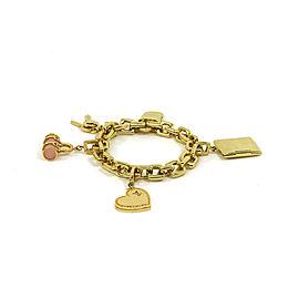 Louis Vuitton 18K Yellow Gold with Pink Quartz Charms Chain Bracelet
