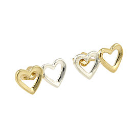 Tiffany & Co. 18K Yellow Gold and 925 Sterling Silver Double Heart Designer Earrings