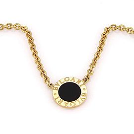 Bulgari 18K Yellow Gold with Onyx Circular Pendant & Chain Necklace