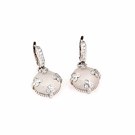 Judith Ripka 18K White Gold Rock Crystal & Diamond Drop Earrings