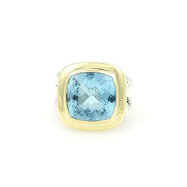 David Yurman 925 Sterling Silver and 18K Yellow Gold Blue Topaz Cable Wire Cocktail Ring Size 6.25