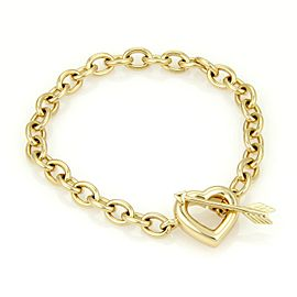 Tiffany & Co. 18K Yellow Gold Chain Link Arrow & Heart Toggle Clasp Bracelet