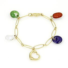 Tiffany & Co. Peretti 18K Yellow Gold with Multi-Color Gemstone 5 Charm Bracelet