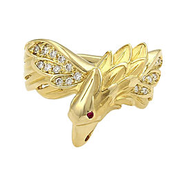 Carrera y Carrera 18K Yellow Gold 0.12tcw Diamonds & 0.01ct Ruby Eagle Ring Size 4.5