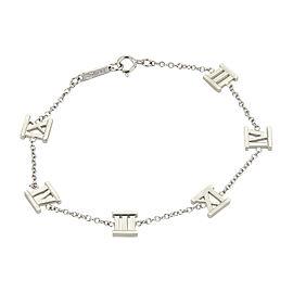Tiffany & Co. Atlas 18K White Gold Roman Numerals 6 Charms Chain Bracelet