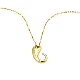 Tiffany & Co. Elsa Peretti 18K Yellow Gold Hook Design Pendant Necklace