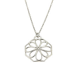 Tiffany & Co. Italy 18K White Gold 0.02ct Diamond Flower Pendant Necklace