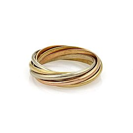 Cartier Trinity 18K Yellow, White and Rose Gold Band Ring Size 7.5