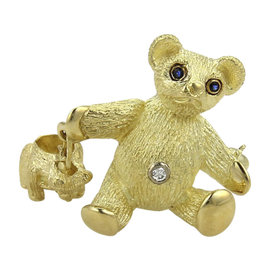 Tiffany & Co. 18K Yellow Gold Sapphire & Diamond Mother & Baby Bear Pin Brooch