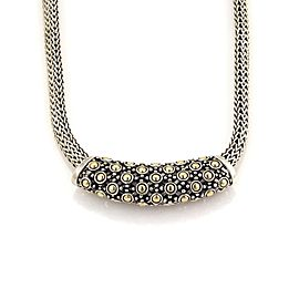 John Hardy Classic 925 Sterling Silver and 18K Yellow Gold Dot Slide Pendant Woven Necklace