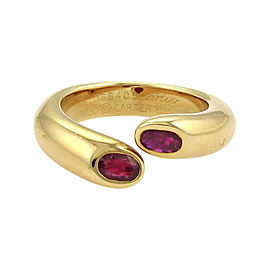 Cartier Ellipse Deux Tetes Croisees 18K Yellow Gold with Rubies Bypass Ring Size 4.75