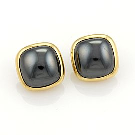 Tiffany & Co. 18K Yellow Gold & Hematite Square Clip On Earrings