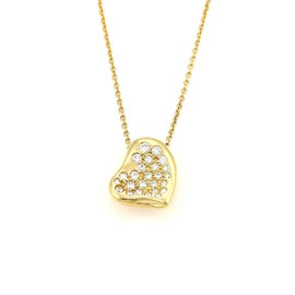 Tiffany & Co. Elsa Peretti 18K Yellow Gold with 0.28ct Diamond Curved Heart Pendant Necklace