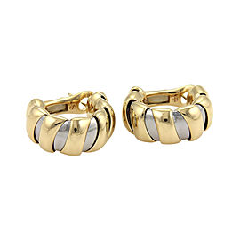 Bulgari Bvlgari Tugobas 18K Yellow Gold & Stainless Steel Hoop Earrings