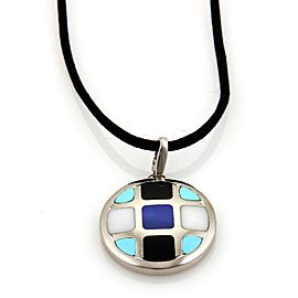 Cartier Pasha 18K White Gold and Cord with Lapis, Onyx, Turquoise and Marble Pendant Necklace