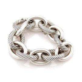 David Yurman Sterling Silver Cable Wire Oval Link Bracelet