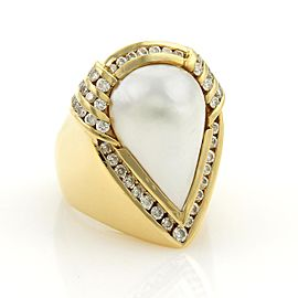 Charles Krypell 18K Yellow Gold with 2ct. Diamonds & Mabe Pearl Cocktail Ring Size 8