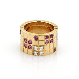 Cartier Payette 0.20ct. Diamond Pink Sapphire 18K Yellow Gold Ring Size 5.5