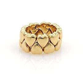 Cartier 18K Yellow Gold Double Row Hearts Band Ring Size 5.5