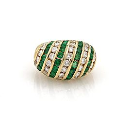 Hammerman Brothers 14K Yellow Gold 2.00ct Emerald & Diamond Dome Ring Size 6