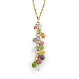 Tiffany & Co. 18K Yellow Gold with Amethyst, Pink Sapphire, Blue Topaz, Citrine And Peridot Long Drop Pendant Necklace