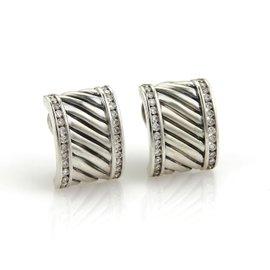 David Yurman 2.15ct. Diamond Sterling Silver Cable Post Clip Earrings