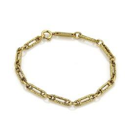 Piaget Vintage 18K Yellow Gold Textured Oval Link Bracelet
