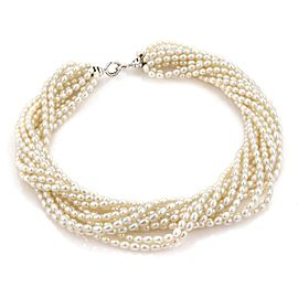Tiffany & Co. Paloma Picasso 925 Sterling Silver with 12 Strand Freshwater Pearls Choker Necklace