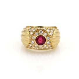 Piaget 18K Yellow Gold with 1.65ct Diamond & Ruby Band Ring Size 7