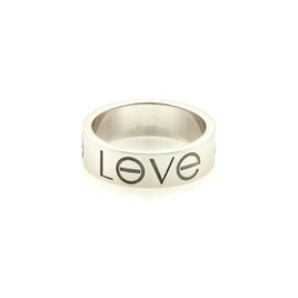 Cartier 18K White Gold Love Engraved Band Ring Size 4.75