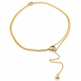 Cartier 18K Trinity Gold Mini Ring Love Knot Pendant Double Lariat Necklace