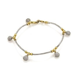 Philippe Charriol 1ct. Diamonds 18K Yellow Gold and Stainless Steel Cable & Tear Drop Charm Bracelet